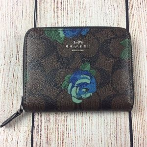 Coach Signature C Floral Zip Around Wallet Small